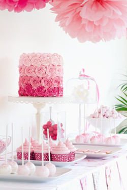 Wedding dessert table pink