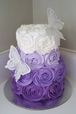 Purple frilled cake