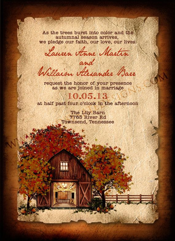 Fall barn invitation