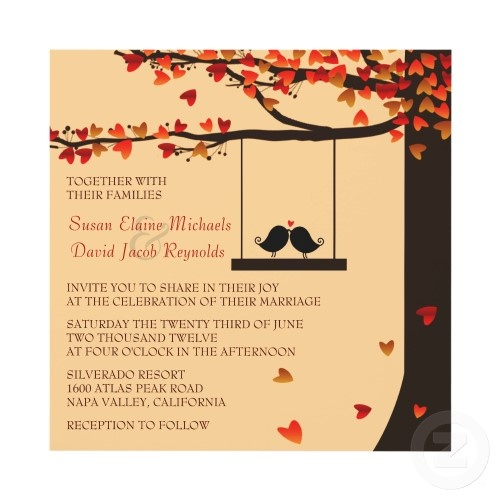 love birds autumn invite