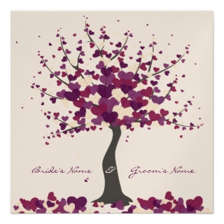 tree of hearts purple wedding invitation